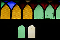 ETHIOPIA , Harar, Arthur Rimbaud House and museum, the french author lived here from 1854-1891, coloured window glass