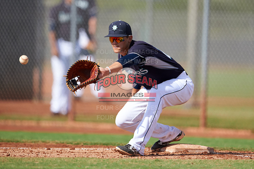 Seattle Mariners Rob Fonseca (21) during an instructional league intrasquad game on October 6, 2015 at the Peoria Sports Complex in Peoria, Arizona.  (Mike Janes/Four Seam Images)