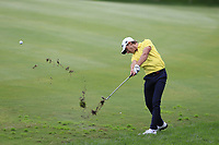 Joakim Lagergren (SWE) plays his 2nd shot on the 14th hole during Friday's storm delayed Round 2 of the Andalucia Valderrama Masters 2018 hosted by the Sergio Foundation, held at Real Golf de Valderrama, Sotogrande, San Roque, Spain. 19th October 2018.<br /> Picture: Eoin Clarke | Golffile<br /> <br /> <br /> All photos usage must carry mandatory copyright credit (&copy; Golffile | Eoin Clarke)