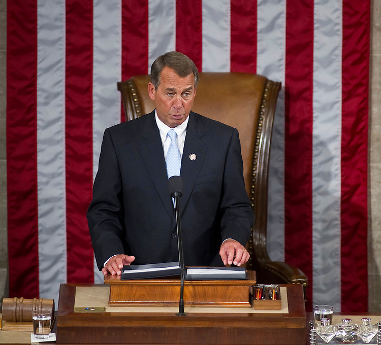 WASHINGTON, DC- Jan. 05: House Speaker John A. Boehner, R-Ohio, speaks after accepting the gavel from outgoing House Speaker Nancy Pelosi, D-Calif., as the 112th Congress convenes at the U.S. Capitol. (Photo by Scott J. Ferrell/Congressional Quarterly)