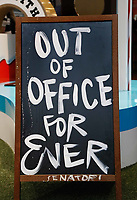 Nederland - Amsterdam - Januari 2019.  HORECAVA.  Bord bij een stand op de Horecava. Out Of Office Forever.  Foto Berlinda van Dam / Hollandse Hoogte