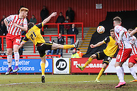 John-Joe O'Toole of Northampton Town (21) scores his team's second goal to make it 2-2 during the Sky Bet League 2 match between Stevenage and Northampton Town at the Lamex Stadium, Stevenage, England on 19 March 2016. Photo by David Horn / PRiME Media Images.