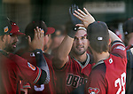 Arizona Diamondbacks' Reymond Fuentes is greeted in the dugout after hitting a home run against the Los Angeles Dodgers in a spring training game in Glendale, Ariz., on Friday, March 24, 2017.<br /> Photo by Cathleen Allison/Nevada Photo Source