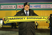 Haringey fan before the game starts during Haringey Borough vs AFC Wimbledon, Emirates FA Cup Football at Coles Park Stadium on 9th November 2018