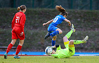 20191221 - WOLUWE: Gent's Jasmien Mathys' (in the air) attemp is thwartedy by the Woluwe goal keeper Natasha Ribbens (on the ground) during the Belgian Women's National Division 1 match between FC Femina WS Woluwe A and KAA Gent B on 21st December 2019 at State Fallon, Woluwe, Belgium. PHOTO: SPORTPIX.BE | SEVIL OKTEM