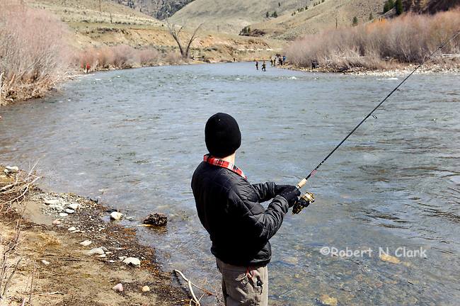 Steel fishing on the Salmon River in Idaho during the spring run