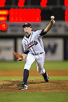 Danville Braves relief pitcher Jon Kennedy (43) delivers a pitch to the plate against the Pulaski Yankees at American Legion Post 325 Field on August 1, 2016 in Danville, Virginia.  The Yankees defeated the Braves 4-1.  (Brian Westerholt/Four Seam Images)