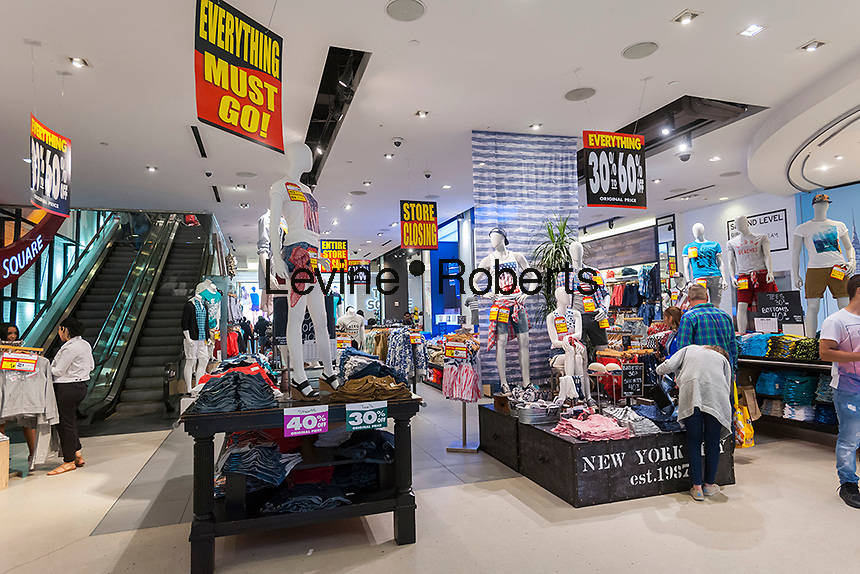 The Aéropostale store in Times Square store in New York on Tuesday, May 24, 2016 is festooned with store closing signs. The embattled teen retailer Aéropostale has filed for Chapter 11 bankruptcy protection after 13 straight quarters of losses. The company will close 113 U.S. stores and 41 in Canada. (© Richard B. Levine)