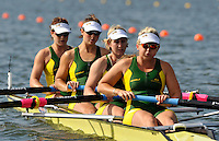 Brandenburg, GERMANY, AUS BW4- , Bow Sphia ROBSON, Alison CROWE, Sarah EKE and Sascha LAHEY, move away from the start at the 2008 FISA U23 World Rowing Championships, {idow], {date}, [Mandatory credit: Peter Spurrier Intersport Images]. Rowing Course: Brandenburg, Havel Rowing Course, Brandenburg, GERMANY