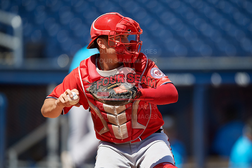 Washington Nationals catcher KJ Harrison (4) throws down to second base during an Instructional League game against the Miami Marlins on September 26, 2019 at FITTEAM Ballpark of The Palm Beaches in Palm Beach, Florida.  (Mike Janes/Four Seam Images)