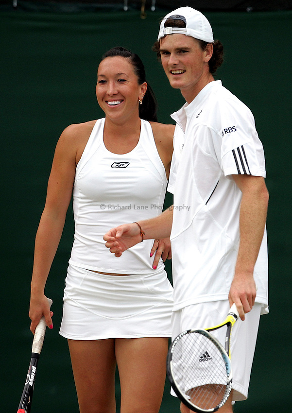 Photo: Paul Thomas..Wimbledon Championships. 04/07/2007...Jamie Murray (GBR) and Jelena Jankovic (SRB) during their double's match against Sarah Borwell and Richard Bloomfield.