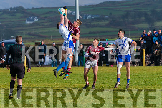 St Marys Denis Daly and Dromids Niall O'Connor both rise for the ball while Graham O'Sullivan & Bryan Sheehan wait for the breaking ball.