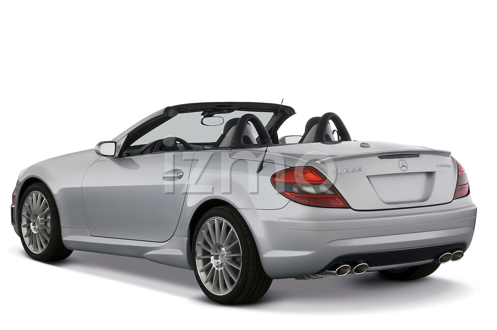 Rear three quarter view of a Mercedes Benz SLK Class sports car.