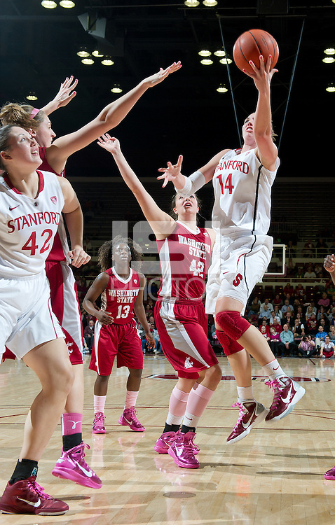 STANFORD, CA - February  10, 2011: Stanford Cardinal's Kayla Pedersen shoots the ball during the Stanford vs Washington State game at Maples Pavilion in Stanford, California.