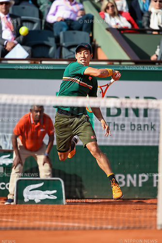 Kei Nishikori (JPN), JUNE 7, 2017 - Tennis : Kei Nishikori of Japan during the Men's singles quarter-final match of the French Open tennis tournament against Andy Murray of Great Britain at the Roland Garros in Paris, France. (Photo by AFLO)