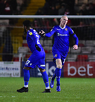 Morecambe's Kevin Ellison, right, celebrates scoring his side's first goal<br /> <br /> Photographer Andrew Vaughan/CameraSport<br /> <br /> The EFL Sky Bet League Two - Saturday 15th December 2018 - Lincoln City v Morecambe - Sincil Bank - Lincoln<br /> <br /> World Copyright © 2018 CameraSport. All rights reserved. 43 Linden Ave. Countesthorpe. Leicester. England. LE8 5PG - Tel: +44 (0) 116 277 4147 - admin@camerasport.com - www.camerasport.com
