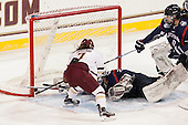 Kristyn Capizzano (BC - 7), Elaine Chuli (UConn - 29), Jaime Fox (UConn - 47) - The Boston College Eagles defeated the visiting UConn Huskies 4-0 on Friday, October 30, 2015, at Kelley Rink in Conte Forum in Chestnut Hill, Massachusetts.