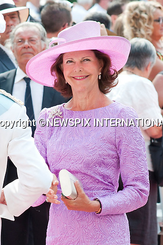 "MONACO ROYAL WEDDING.Queen Silvia..Guests Arrive at the Religious wedding of H.S.H Prince Albert II and Miss Charlene Wittstock in the Prince's Palace._Prince's Palace Monaco 01/07/2011..Mandatory Photo Credit: ©Dias/Newspix International..**ALL FEES PAYABLE TO: ""NEWSPIX INTERNATIONAL""**..PHOTO CREDIT MANDATORY!!: NEWSPIX INTERNATIONAL(Failure to credit will incur a surcharge of 100% of reproduction fees)..IMMEDIATE CONFIRMATION OF USAGE REQUIRED:.Newspix International, 31 Chinnery Hill, Bishop's Stortford, ENGLAND CM23 3PS.Tel:+441279 324672  ; Fax: +441279656877.Mobile:  0777568 1153.e-mail: info@newspixinternational.co.uk"