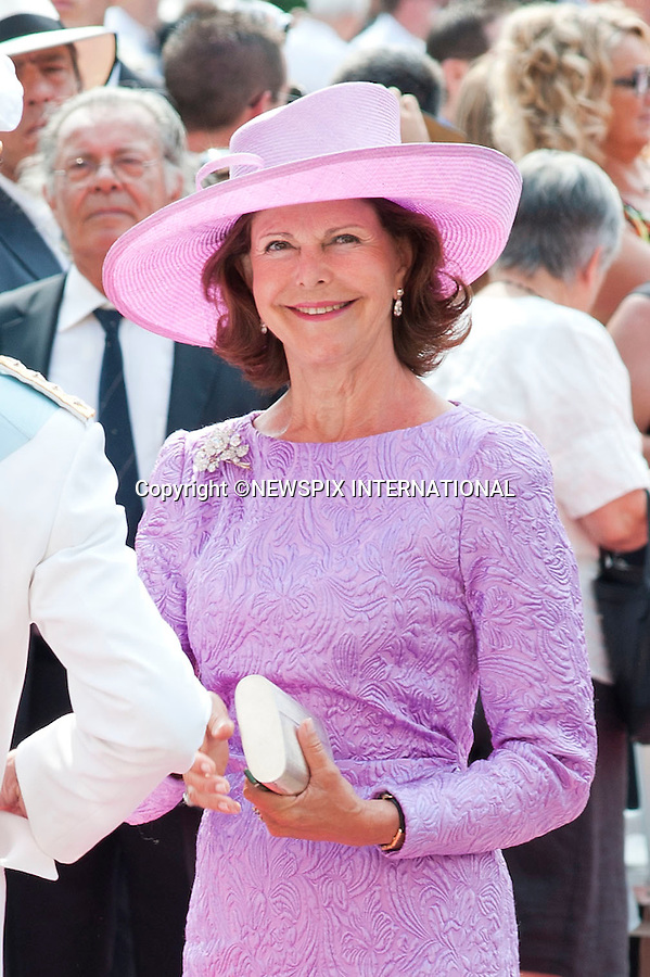 """MONACO ROYAL WEDDING.Queen Silvia..Guests Arrive at the Religious wedding of H.S.H Prince Albert II and Miss Charlene Wittstock in the Prince's Palace._Prince's Palace Monaco 01/07/2011..Mandatory Photo Credit: ©Dias/Newspix International..**ALL FEES PAYABLE TO: """"NEWSPIX INTERNATIONAL""""**..PHOTO CREDIT MANDATORY!!: NEWSPIX INTERNATIONAL(Failure to credit will incur a surcharge of 100% of reproduction fees)..IMMEDIATE CONFIRMATION OF USAGE REQUIRED:.Newspix International, 31 Chinnery Hill, Bishop's Stortford, ENGLAND CM23 3PS.Tel:+441279 324672  ; Fax: +441279656877.Mobile:  0777568 1153.e-mail: info@newspixinternational.co.uk"""