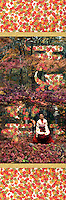 """Tatsuta-hime (Japanese autumn goddess)<br /> Giclée with chiyogami and midare paper. 15.5"""" x 30"""".<br /> Inspired by Chinese fairy tale action movies, this image depicts the Japanese autumn goddess, Tatsuta-Hime, materializing from a flurry of maple leaves whisked in by a gust of wind. I have utilized a digital technique to smooth out the colors in this image, in an effort to recreate the look of traditional wood block printing. This woman is a fan dancer from the Japanese band, Batiholic."""