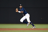 Shortstop Hansel Moreno (12) of the Columbia Fireflies plays defense in a game against the Greenville Drive on Saturday, May 26, 2018, at Spirit Communications Park in Columbia, South Carolina. Columbia won, 9-2. (Tom Priddy/Four Seam Images)
