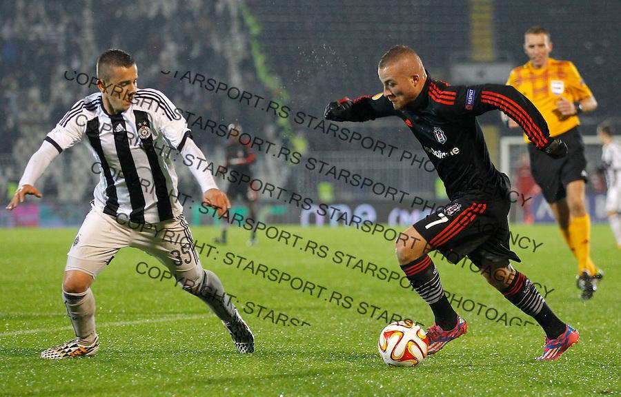 Fudbal Football Soocer<br /> UEFA Europe League <br /> Partizan v Besiktas<br /> Gokhan Tore (R) and Miladin Stevanovic<br /> Beograd, 23.09.2014.<br /> foto: Srdjan Stevanovic/Starsportphoto&copy;
