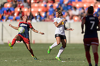 Houston, TX - Sunday Oct. 09, 2016: Whitney Church, Lynn Williams during the National Women's Soccer League (NWSL) Championship match between the Washington Spirit and the Western New York Flash at BBVA Compass Stadium. The Western New York Flash win 3-2 on penalty kicks after playing to a 2-2 tie.