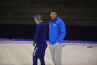 SCHAATSEN: HEERENVEEN: 19-09-2014, IJsstadion Thialf, Topsporttraining, Karolina Erbanová (CZE), Gianni Romme (trainer Team Continu), ©foto Martin de Jong