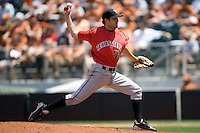 Starting pitcher Brennan Stewart #50 of the Texas Tech Red Raiders against the Texas Longhorns on April 17, 2011 at UFCU Disch-Falk Field in Austin, Texas. (Photo by Andrew Woolley / Four Seam Images)