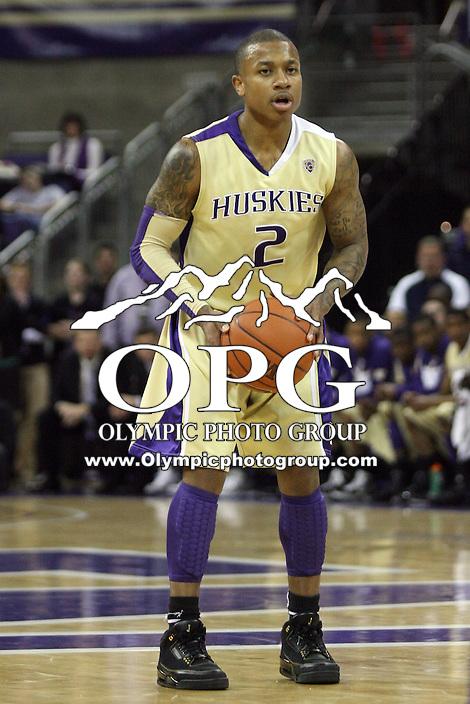 Feb 27, 2011:  Washington guard #2 Isaiah Thomas brings the basketball down court against Washington State.  Washington State defeated Washington 80-69 at Alaska Airlines Arena Seattle, Washington...