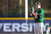 Manhattan Jaspers starting pitcher John Soldinger #12 looks to his catcher for the sign against the High Point Panthers at Willard Stadium on March 9, 2012 in High Point, North Carolina.  The Panthers defeated the Jaspers 11-6.  (Brian Westerholt/Four Seam Images)