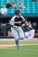 Michael Gasper (7) of the Bryant Bulldogs hustles down the first base line against the Coastal Carolina Chanticleers at Springs Brooks Stadium on March 13, 2015 in Charlotte, North Carolina.  The Chanticleers defeated the Bulldogs 7-2.  (Brian Westerholt/Four Seam Images)