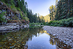 Idaho, North, Kootenai County, Kingston. The little North Fork of the Coeur d'Alene River in evening light of summer.
