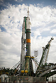 The Soyuz TMA-04M spacecraft is seen after being rolled out by train to the launch pad at the Baikonur Cosmodrome in Kazakhstan, Sunday, May 13, 2012.  The launch of the Soyuz spacecraft with Expedition 31 Soyuz Commander Gennady Padalka and Flight Engineer Sergei Revin of Russia, and prime NASA Flight Engineer Joe Acaba is scheduled for 9:01 a.m. local time on Tuesday, May 15, 2012..Mandatory Credit: Bill Ingalls / NASA via CNP
