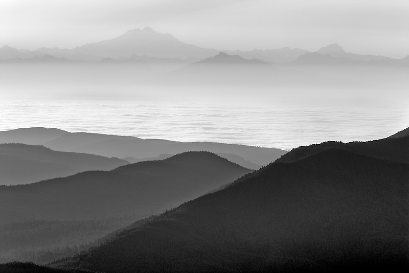 Sunrise and fog with Mt. Baker. Taken from Hurricane ridge, Olympic National Park. Washington