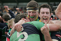 AIB Cup Final 2009. Number 1 from Willie Faloon and he Jerry Cronin and Chris Napier celebrate their victory. Mandatory Credit - Mandatory Credit - John Dickson