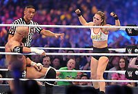 NEW ORLEANS, LA - APRIL 8: Triple H and Ronda Rousey at WWE Wrestlemania 34 at the Mercedes-Benz Superdome in New Orleans, Louisiana on April 8, 2018. <br /> CAP/MPI/GN<br /> &copy;GN/MPI/Capital Pictures