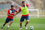 Getafe CF's Bruno Gonzalez (l) and Jorge Molina during training session. August 1,2017.(ALTERPHOTOS/Acero)