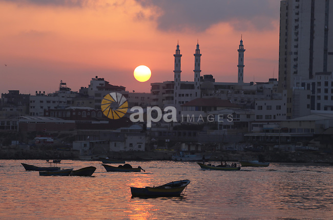 A picture taken at Sunrise on August 10, 2017 shows the Gaza seaport. Photo by Mohammed Asad