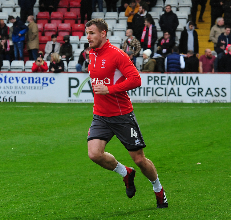 Lincoln City's Michael O'Connor during the pre-match warm-up<br /> <br /> Photographer Andrew Vaughan/CameraSport<br /> <br /> The EFL Sky Bet League Two - Stevenage v Lincoln City - Saturday 8th December 2018 - The Lamex Stadium - Stevenage<br /> <br /> World Copyright © 2018 CameraSport. All rights reserved. 43 Linden Ave. Countesthorpe. Leicester. England. LE8 5PG - Tel: +44 (0) 116 277 4147 - admin@camerasport.com - www.camerasport.com