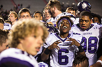 Arkansas Democrat-Gazette/MELISSA SUE GERRITS - 12/05/15 -  Fayetteville's players react to their win against Har-Ber's during the 7A Championship game December 5, 2015 at War Memorial Stadium in Little Rock.