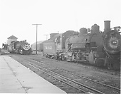 D&amp;RGW #496 and #493 in Antonito yard, both light, no train in sight.  The coaling trestle is in the far distance.<br /> D&amp;RGW  Antonito, CO