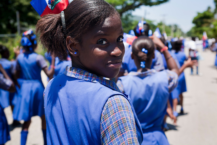 young woman; Flag Day parades