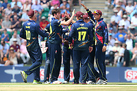 Adam Milne of Kent is congratulated by his team mates after taking the wicket of Tamim Iqbal during Kent Spitfires vs Essex Eagles, NatWest T20 Blast Cricket at The County Ground on 9th July 2017