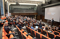 "Tal Becker, one of Israel's top peace negotiators and senior fellow at the Shalom Hartman Institute in Jerusalem, spoke on April 24, 2018 as Occidental College's 2018 Jack Kemp '57 Distinguished Lecturer. Becker spoke about ""The Israeli-Palestinian Conflict in Jewish Discourse: Identity, Justice and Religion"" in Choi Auditorium.<br /> (Photo by Marc Campos, Occidental College Photographer)"
