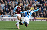 Huddersfield Town's Rajiv van La Parra goes down under the challenge from Burnley's Matthew Lowton<br /> <br /> Photographer Rich Linley/CameraSport<br /> <br /> The Premier League - Burnley v Huddersfield Town - Saturday 6th October 2018 - Turf Moor - Burnley<br /> <br /> World Copyright &copy; 2018 CameraSport. All rights reserved. 43 Linden Ave. Countesthorpe. Leicester. England. LE8 5PG - Tel: +44 (0) 116 277 4147 - admin@camerasport.com - www.camerasport.com