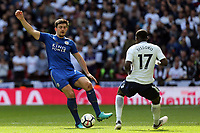 Harry Maguire of Leicester City and Moussa Sissoko of Tottenham Hotspur during Tottenham Hotspur vs Leicester City, Premier League Football at Wembley Stadium on 13th May 2018