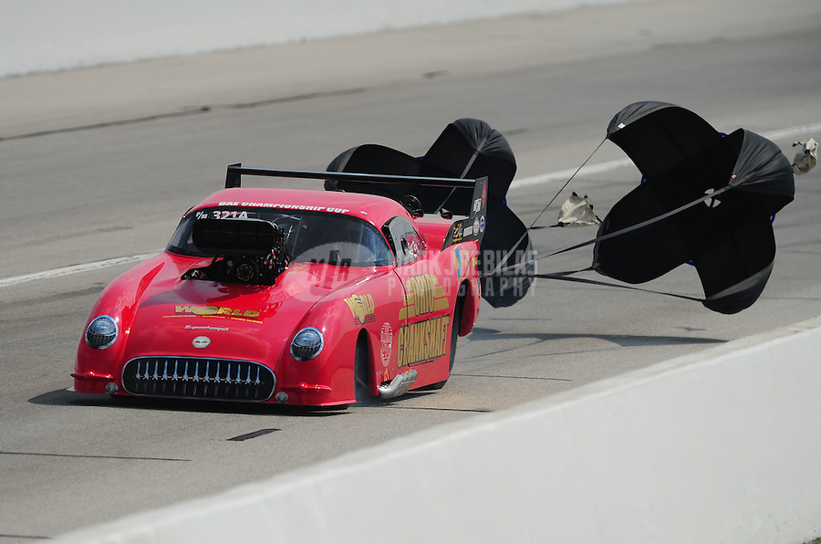 Sept. 3, 2011; Claremont, IN, USA: NHRA pro mod driver Scott Ray during qualifying for the US Nationals at Lucas Oil Raceway. Mandatory Credit: Mark J. Rebilas-