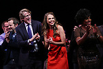 Rob Ashford, Dick Scanlan, Sutton Foster, Sheryl Lee Ralph during the curtain Call bows for the Actors Fund's 15th Anniversary Reunion Concert of 'Thoroughly Modern Millie' on February 18, 2018 at the Minskoff Theatre in New York City.