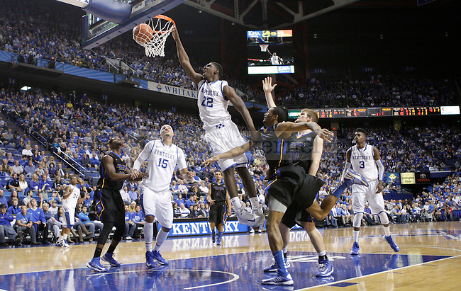 UK forward Alex Poythress dunks the ball at the UK men's baksetball game vs. Morehead State at Rupp Arena in Lexington, Ky., on Wednesday, November 21, 2012. Photo by Tessa Lighty | Staff